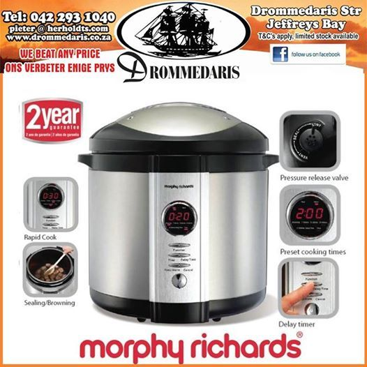 Have you tried the ultimate in cookware from Drommedaris yet? This Morphy Richards pressure cooker is the all in one kitchen assistant and does everything from browning the meat to cooking it to a soft delightful meal in the shortest time. Visit us and ask our sales staff all about it. #lifestyle #homeimprovement