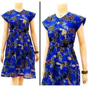 Dress batik solo motif Sekar Jagad