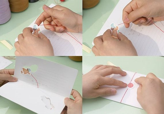 2 Sheets Pop up Red String Letter / Pop up Card / by DubuDumo