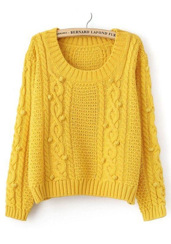 Yellow Plain Print Long Sleeve Acrylic Sweater