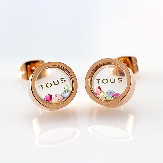TOUS Gold Stud Earrings with Crystals Inside. Moriiiiii
