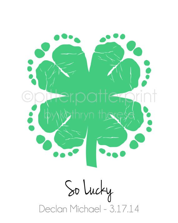 St Patricks Day Baby Footprint Four Leaf by PitterPatterPrint