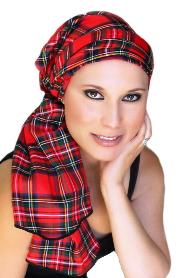 Red Plaid Turban, Head Wrap Alopecia Scarf, Chemo Hat, Hat & Scarf Set