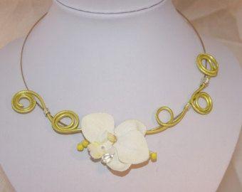 Regalos de collar de oro rosa orquídeas collar por LaLaCrystal