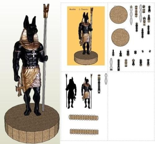 Anubis Egyptian God Statue In 2D Paper Model - by J. Ossorio - Estátua de Anúbis == An easy-to-build paper model in 2D of Isis, Egyptian god, created by Spanish designer J. Ossorio. To view and print this model you will nedd Pepakura Viewer Free Version (link at the end of this post).