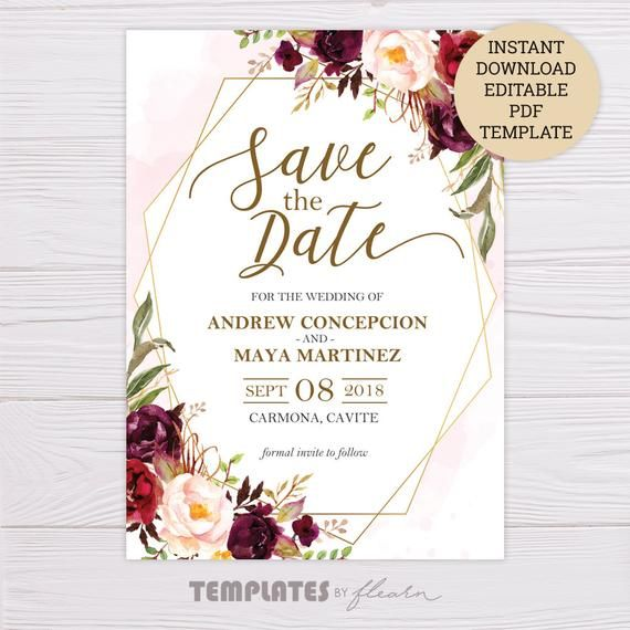 Marsala Floral Save The Date Template Instant Down Wedding Invitations Printable Templates Save The Date Templates Free Printable Wedding Invitation Templates