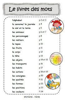 IPOTÂME ....TÂME: Livret des mots CP ou pré dictionnaire