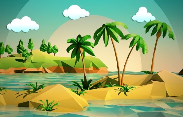 Wallpaper landscape, sky, clouds, island trees, palm trees, the sea