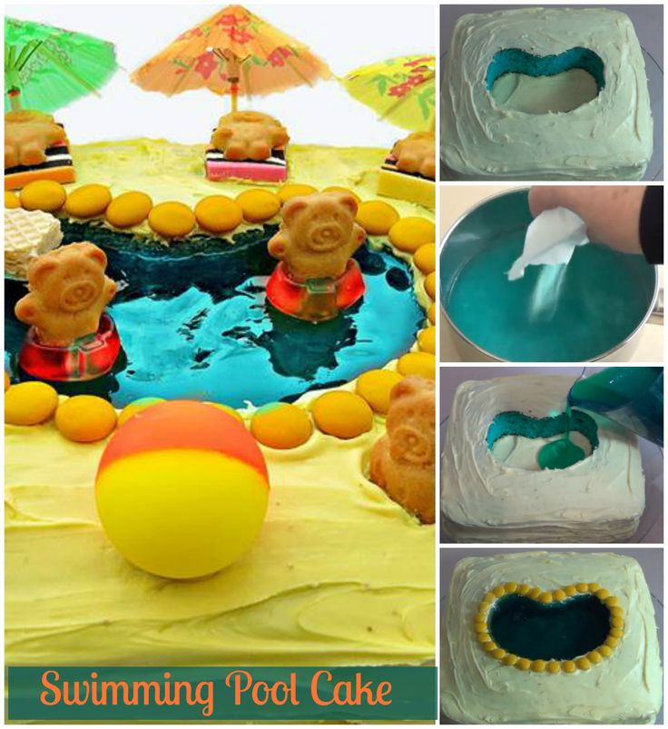 Swimming Pool Cake. Learn how to decorate a swimming pool cake with tiny teddies floating around. http://www.ifood.tv/video/tiny-teddy-swimming-pool-cake