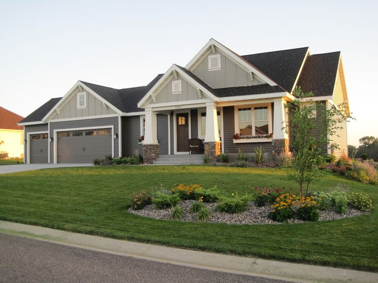 vinyl siding styles in Exterior Craftsman with landscaping Craftsman Style Rambler