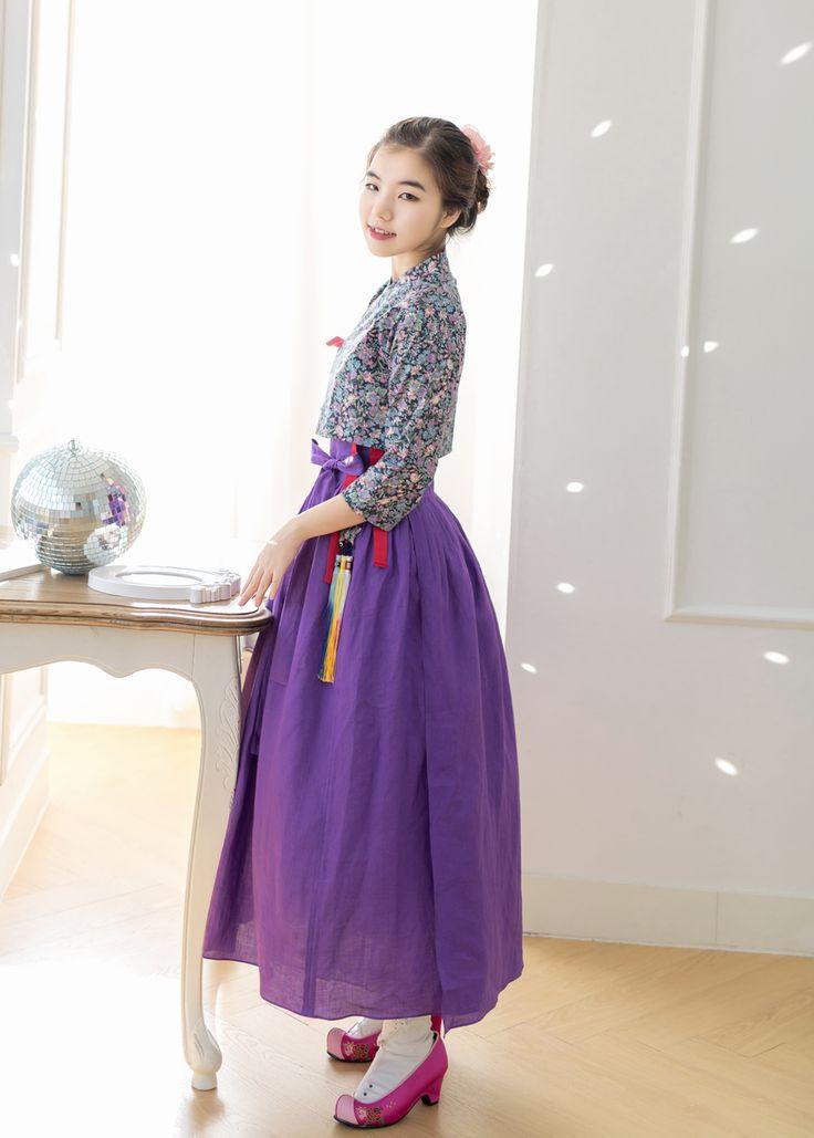 함초롬 제비꽃빛 허리치마 한복치마 : 다래원 한복