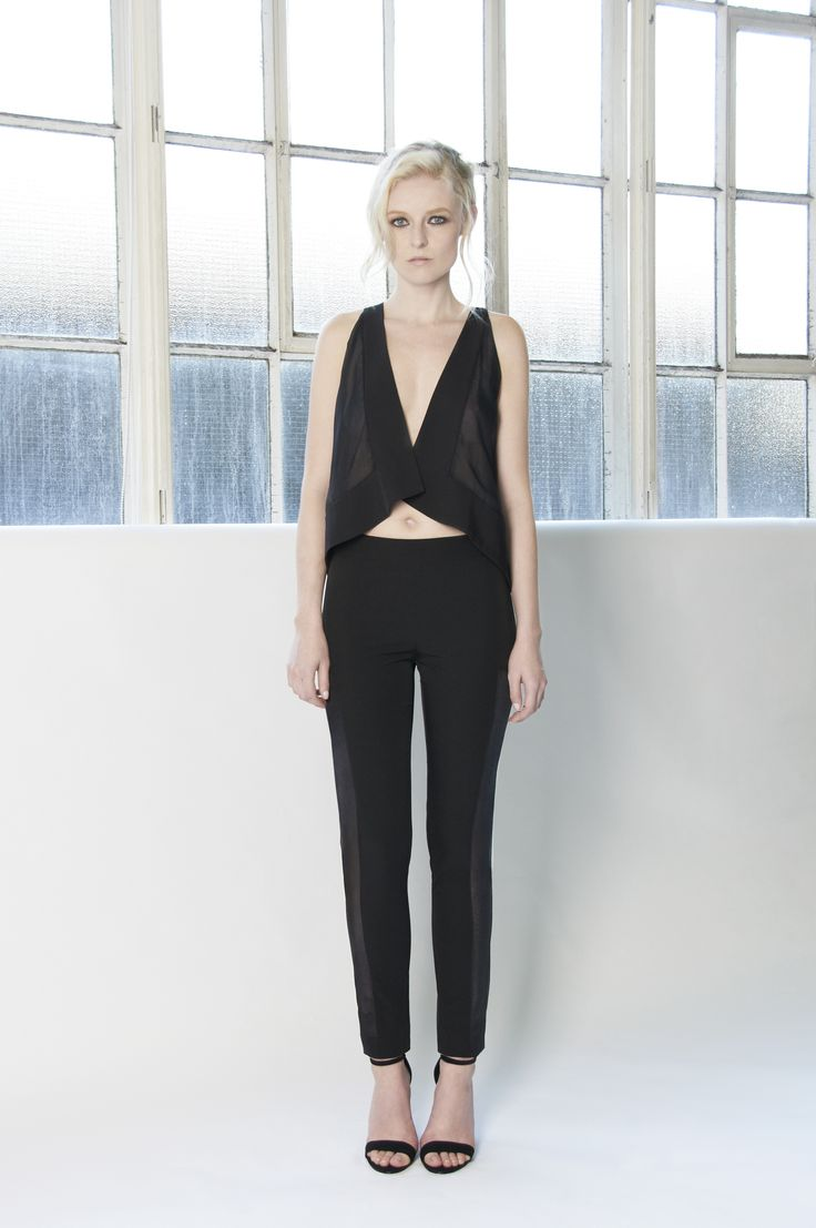 VALERIE Black cropped halter style blouse with sheer side panels. Black slim fitted cropped pants with sheer  side panels. http://www.lui-s.co/ #MakersAndDoers #inspiration #fashion
