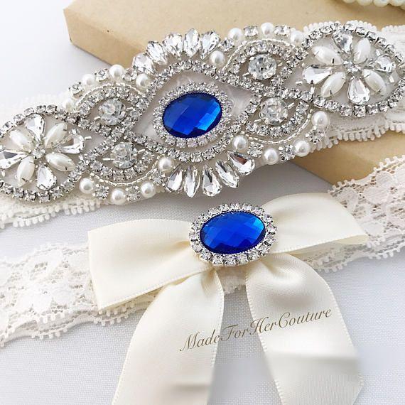 Royal Blue Wedding Garter Bridal Set Ivory Belt Something This