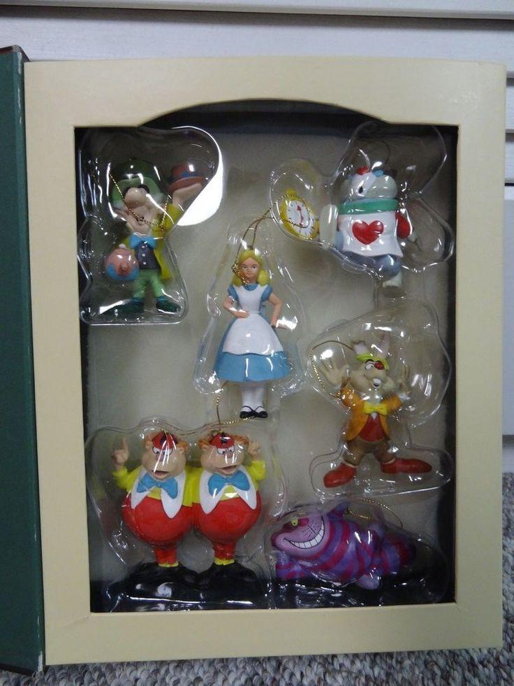 Disney Boxed Set of Alice In Wonderland Christmas Ornaments Mad Hatter Rabbit
