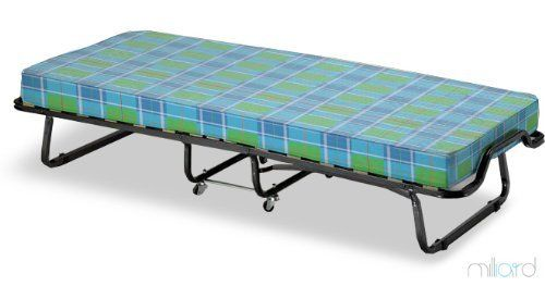"""Milliard Super Strong Portable Folding Rollaway Bed (Metal Frame and Foam Mattress) Mattress Is Checkered, Not White Made In Italy by Milliard. $179.99. Portable and easily stored. Super Strong frame can accommodate large individual. Maximum weight up to 264 lbs. 4 wheels for easy mobility. Bed dimensions open are 31.5"""" x 79"""", similar to those of a standard Twin size mattress. Frame made of square tubing for added stength and durability. Super Strong frame can accommodate..."""