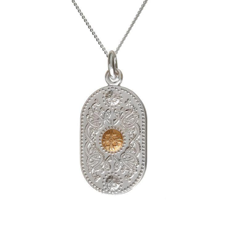 Large Pendant (30mm Gold Boss) #houseoflor #irishjewelry #irishgold #pendant #sterlingsilver #arda #handmade #celticjewelry
