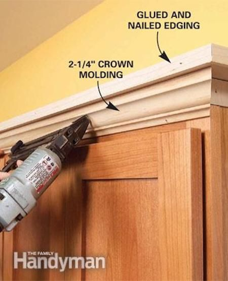 Add Molding To The Top Of Your Builder Grade Cabinets To Make Them