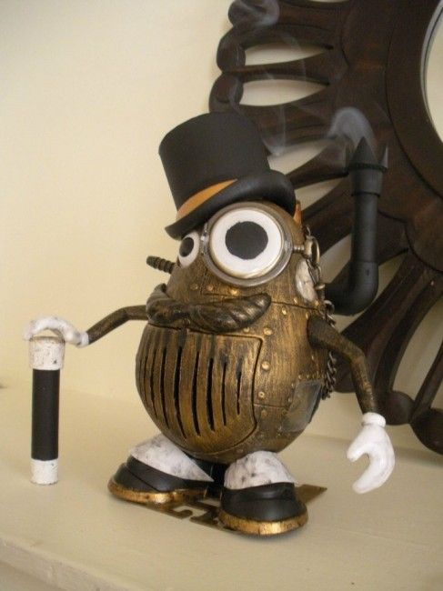 This is exceptional steampunked Mr. Potato Head. Meet Mashter Russet, a very spiffy gentleman.  What a suave fellow!  http://steampunkcostume.com/2012/09/11/smoking-steampunk-mr-potato-head/