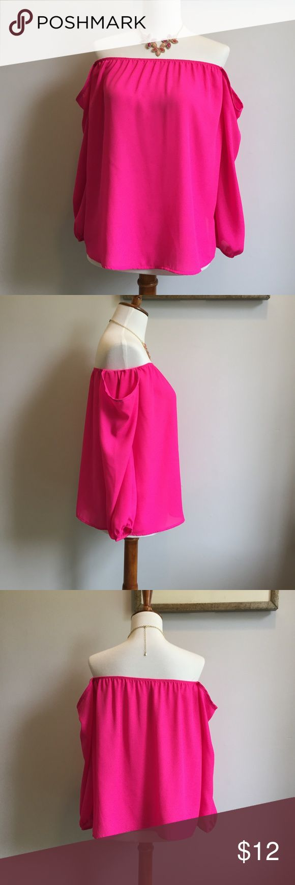 Off shoulders hot pink top In pristine conditions! Worn only twice. The tag is coming of on one side as I accidentally pull it along with the tag. No stains or rips. Beautiful color. The arms are separated from top which is perfect as it won't come up when you move. Emetla Tops Blouses
