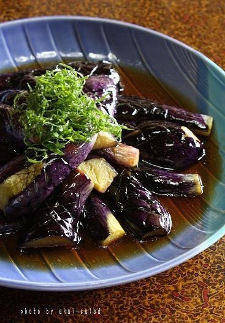 大葉をたっぷり乗せた茄子の揚げ浸し by akai-salad / 夏はこれでしょ♡