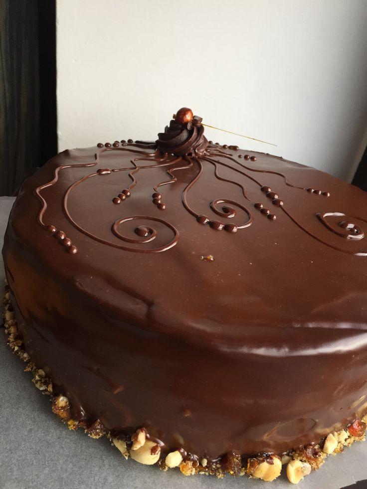 Chocolate Fudge Cake, chocolate ganache and caramelised hazelnuts
