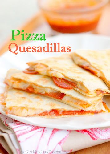 Pizza Quesadillas | The Girl Who Ate Everything. easy just mozza cheese, pizza sauce, toppings of your choice. add some ranch or garlic or sour cream to dip and you got a good meal
