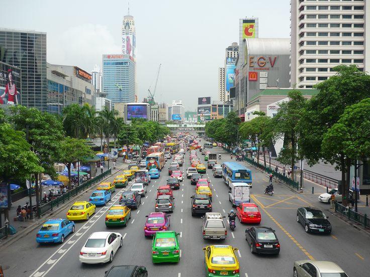 Multicoloured traffic jams in Bangkok.