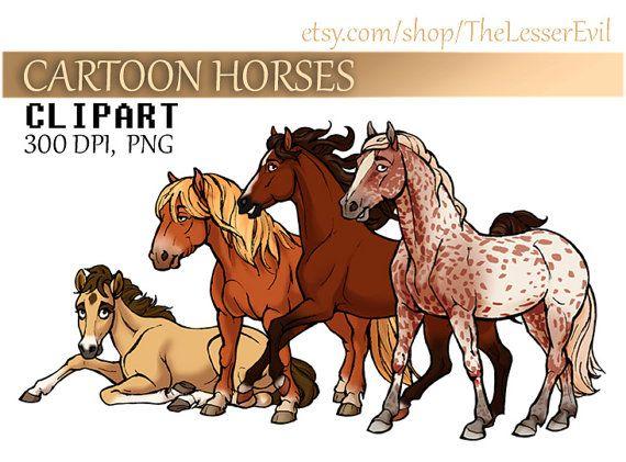 Cartoon Horses Clipart, Digital Illustration