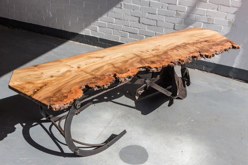 Plough burr elm sideboard  Pitted Claymore plough topped with 200 year old burr elm from Pitlochry Scotland.  Dimensions: Length: 210cm  Width: 60cm  Height: 60cm  Materials: Elm / Iron