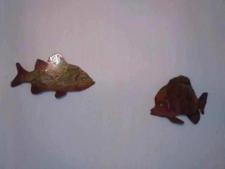 adornos peces de metal para colgar