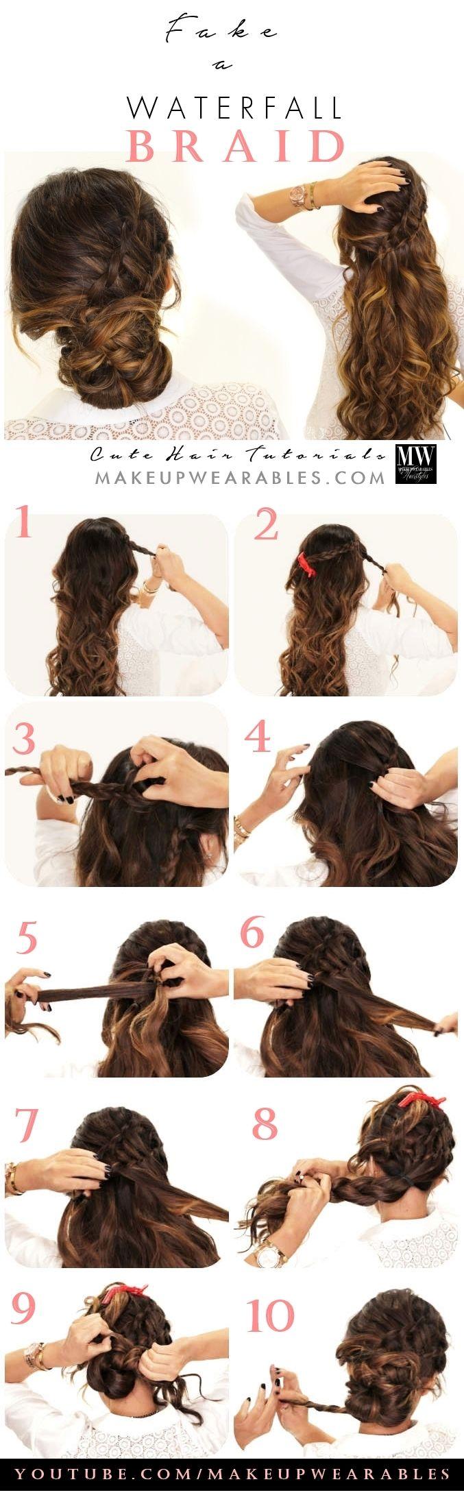 Fake Waterfall Ladder Braid Half-Updo + Bun Hairstyle | Hair tutorial