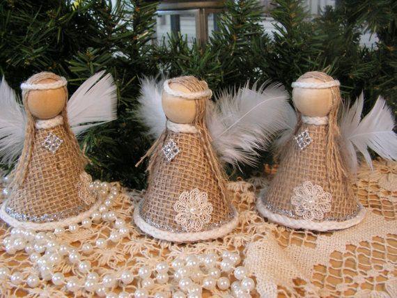 Ornamento di Natale angelo della tela da di Mydaisy2000 su Etsy