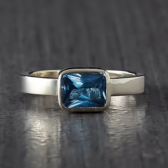 Blue Topaz Silver Ring  Stacking Ring  Handmade by EnLitho on Etsy, €50.00