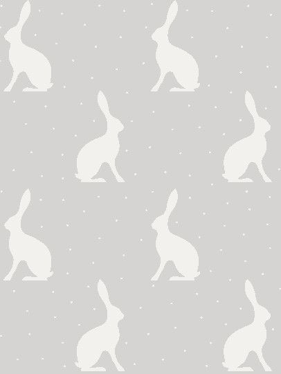 Mini Hares Wallpaper - Gustavian Grey Background - Peony & Sage