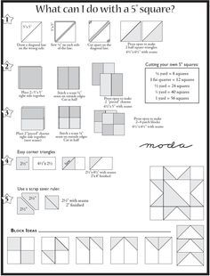 Cheat sheet for five inch squares