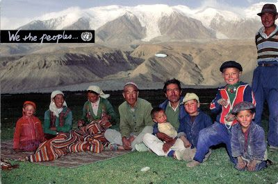 China - A Kirghiz family at the foot of the Kongur mountains in Xinjiang