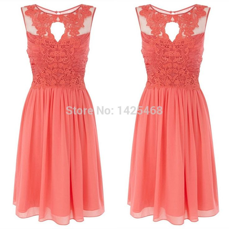 Hot Sale Chiffon Short Coral Bridesmaid Dresses 2015 Knee Length Draped Tank Sheer Neck Lace Bridesmaid Dresses Gown 2015-in Bridesmaid Dresses from Weddings & Events on Aliexpress.com | Alibaba Group