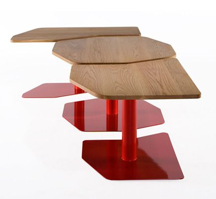 Rift modular tables trace the forms and movement of icebergs and the shapes found in cracked earth, both indicators of our changing climate. http://www.zenithinteriors.com.au/product/2436/rift-table