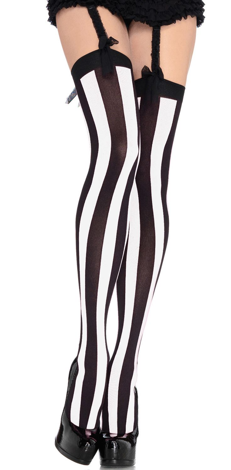 Black And White Vertical Striped Thigh Highs - Pantyhose, Stockings & Tights