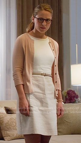 Kara's beige and white linen dress on Supergirl.  Outfit Details: https://wornontv.net/60531/ #Supergirl