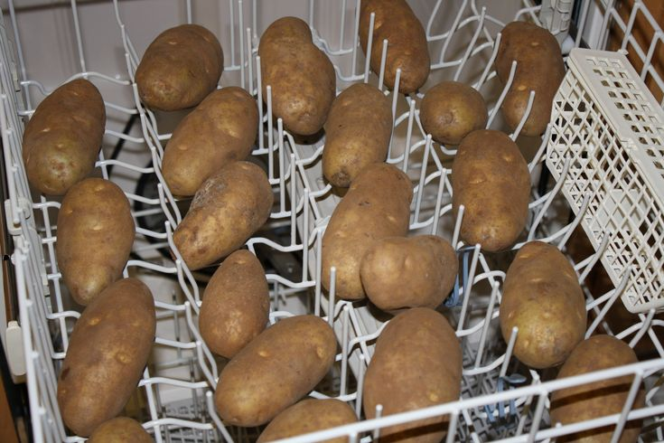 If you have 20 pounds of potatoes to wash, throw them in the top shelf of the dishwasher. Set on the quick rinse cycle and let your dishwasher clean the potatoes......tip from Happy Housewife