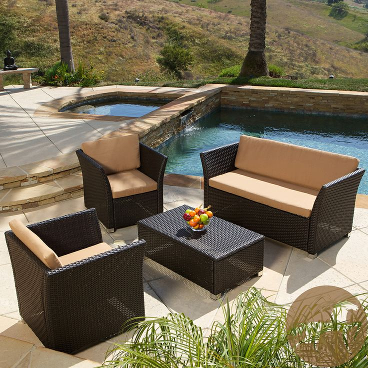 Brown 4 Piece All Weather Wicker Patio Furniture Sofa Set By Christopher  Knight Home By Christopher Knight Home