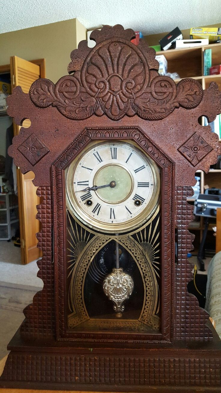 Ingraham clock after washing with wood Murphy's oil soap and Brasso on brass parts