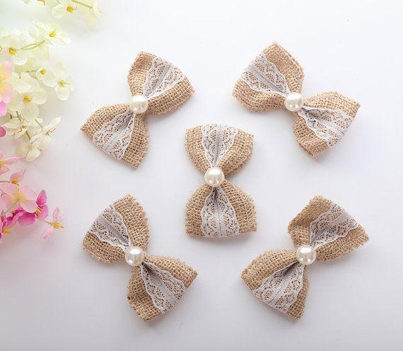 Burlap Bows, Vintage flowers, Rustic Wedding, Craft Project, Burlap Cake Flowers, Wedding Card Decor, Set of 5
