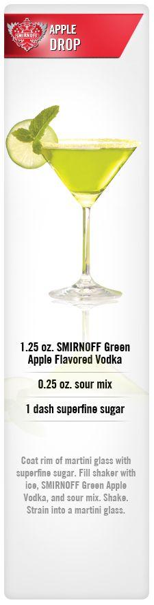 Apple Drop drink recipe with Smirnoff Green Apple Flavored Vodka, sour mix, and sugar. #Smirnoff #vodka #apple #drinkrecipe