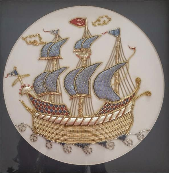 Blue Goldwork Ship ~ embroidered by Elizi | Hobby embroidery, cake, painting, polymer clay, design and life on everything ...: Gold Embroidery