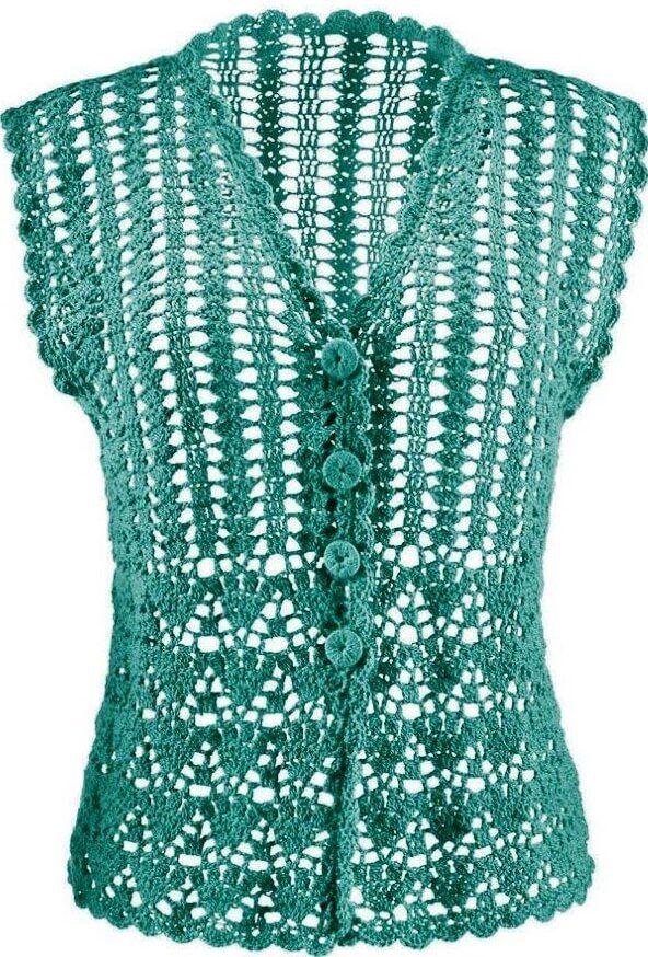 Düşük-kollu-yeşil-renkli-bayan-tığ-işi-yelek-modeli