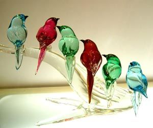 Murano glass birds....