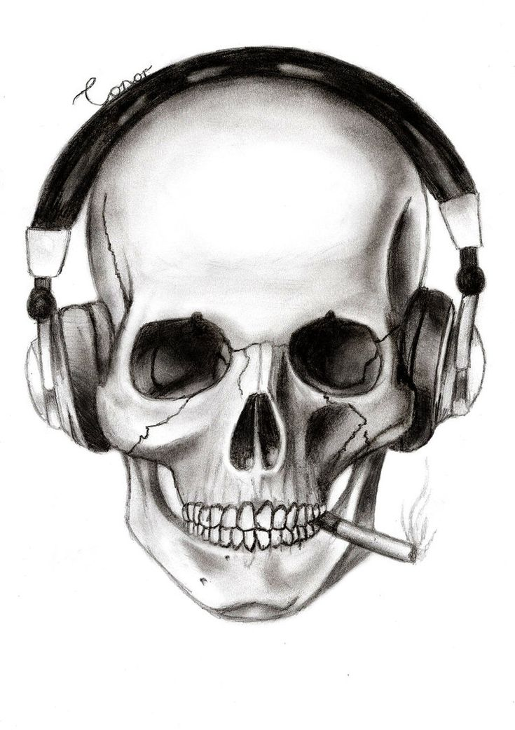 Skull with Headphones Art | Skull And Headphones by Conor332211