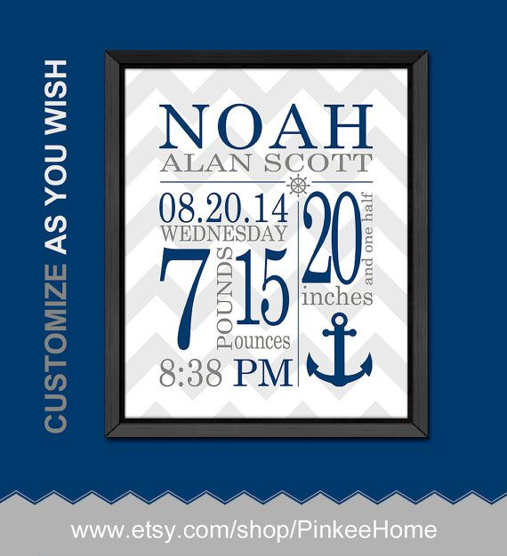 nautical birth announcement nautical baby room decor by PinkeeHome